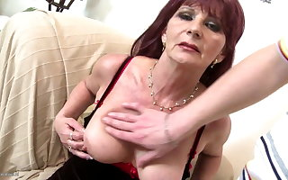 Old grandma slut suck coupled with fuck fat young cock