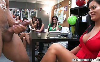 Leading lady Strippers at office birthday fillet