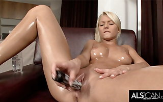 Pinky June Oils Up to Finger and Intrigue b passion Her Pussy to Orgasm