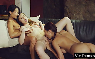 Three gorgeous women suck and fuck each other