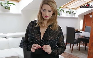 Pregnant Secretary plays with her Humongous tits