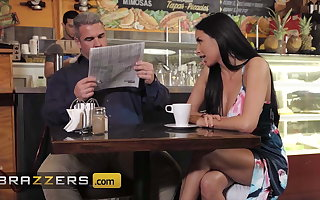 Horny Babe Anissa Kate Teases Her Tighten one's belt At A Local Coffee Shop