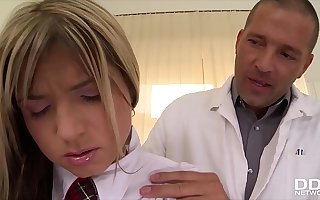 Schoolgirl Gina gets rock hard flannel anal ride upstairs clinic's examination table