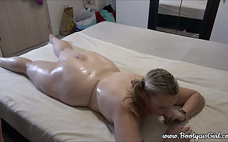 A tired chubby girl gets massage inspection a hard show one's age