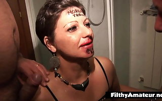 BBW whore gets pissed in her ass with a funnel and then double penetrated