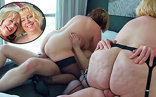 Two British mature blondes finger foursome