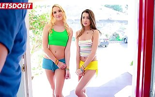 LETSDOEIT - College Girls Kenna James & Lily Adams Are Riding Chad White's Cock In Hot 3way Then Blackmail Him
