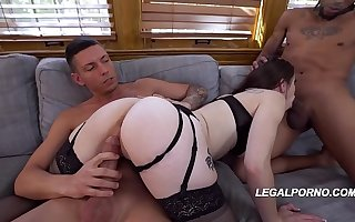 Heavy tuchis slut Anastasia Rose gets their way butthole, pussy & element fucked by 3