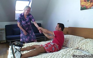 Blonde venerable granny is doggystyle fucked