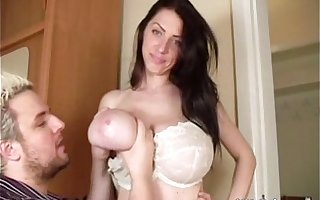 Merilyn Sakova (for the singular time ever in her career!) lets a man hug her tits and suck on her ni