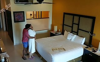 Young girl molested, forced just about have sexual intercourse and creampied against her will away from hotel room intruder snoop cam POV Indian