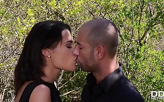 Nature loving Nikita Bellucci rides a heavy cock with her ass in the forest