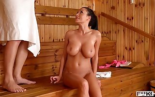 Sauna titty fuck with Relevantly Michova leads to intense Hardcore pussy banging