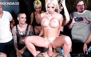 FORBONDAGE - Busty British Lady Barbie Sins Gets Rough Drilled By Big Weasel words On Group BDSM Fun