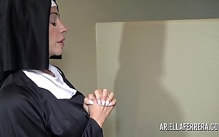 Sexy nun Ariella Ferrera sucking increased by swallowing cum